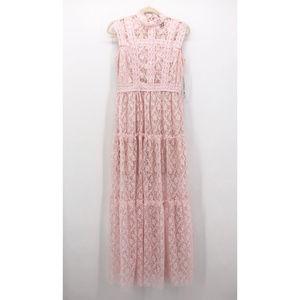 AQUA | Pink Tiered Lace Maxi Dress